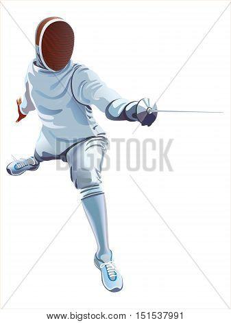Fencing Player. Fencer Swordsman Athletes on a white background
