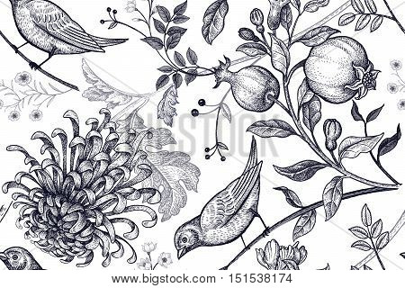 Vintage Japanese chrysanthemum flowers pomegranates branches leaves and birds. Vector seamless pattern.