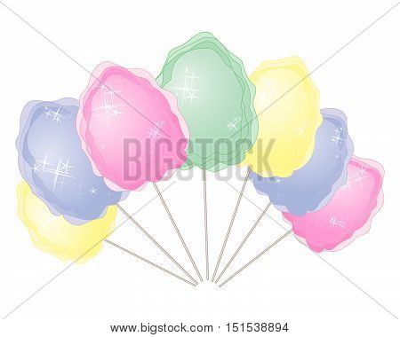 an illustration of colorful cotton candy in advertising format in pink blue yellow and green on a white background