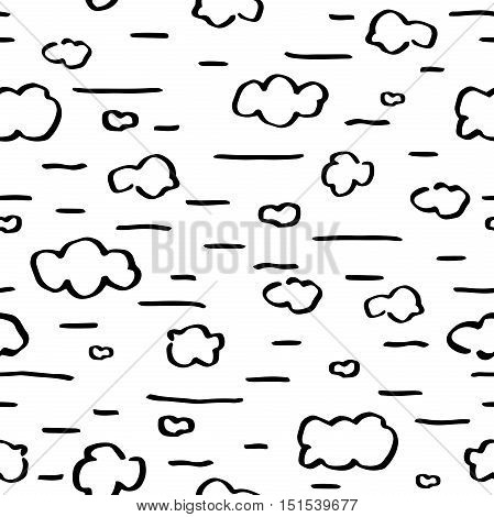 Seamless pattern. Doodle sketch black charcoal clouds on heaven. Handmade stylized texture