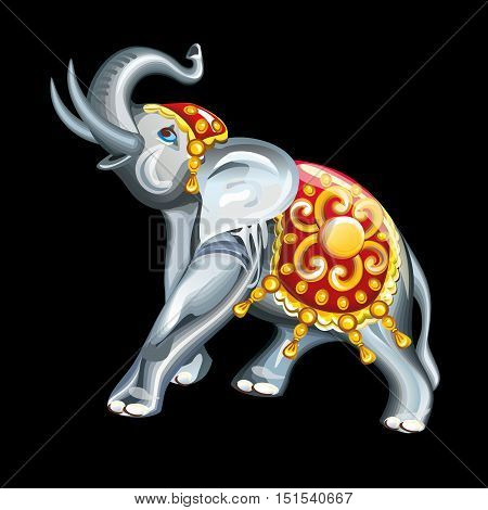 Collection of mascots: statuette of an elephant. Vector objects talismans Feng Shui on a black background.