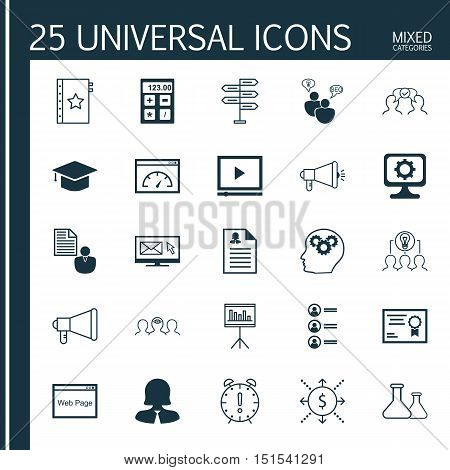 Set Of 25 Universal Icons On Pc, Announcement, Collaborative Solution And More Topics. Vector Icon S