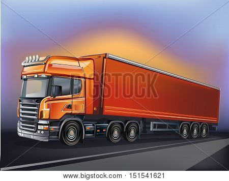 Vector orange truck in motion. Truck and highway at sunset - transportation background