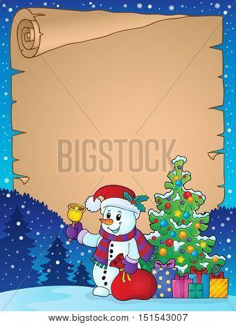 Parchment with Christmas snowman theme 1 - eps10 vector illustration.