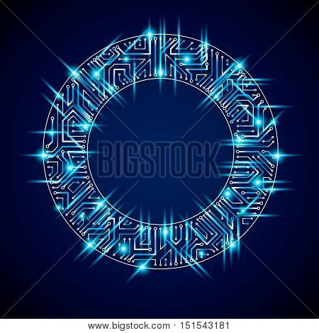 Vector Sparkling Circuit Board Circle, Digital Technologies Abstraction. Blue Shine Computer Micropr