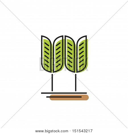Cereal symbol, green wheat grain vector logo isolated on white background, concept of bakery symbol element, spike outline line color style design, abstract