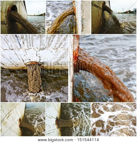 Collage of waste water discharge directly in to river, set of toned images
