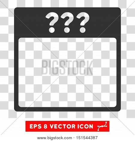 Vector Unknown Calendar Page EPS vector pictograph. Illustration style is flat iconic gray symbol on a transparent background.