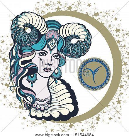 Decorative Zodiac sign Aries . Zodiac symbol