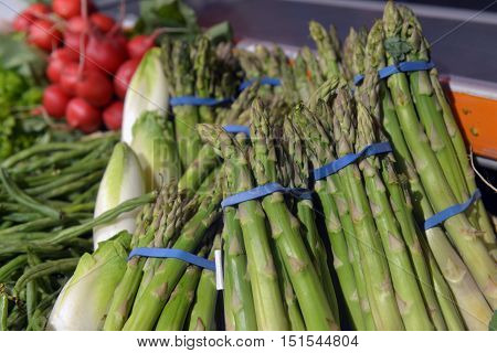 asparagus on displayin in a big supermarket