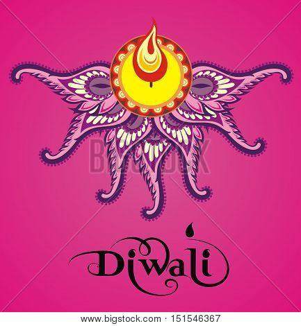 Vector illustration of happy diwali. Happy diwali card