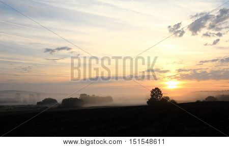 Image of the dawn over rural countryside