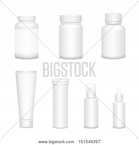 Medicine blank white mock up bottles set for sprays, co and pills realistic isolated 3D illustration