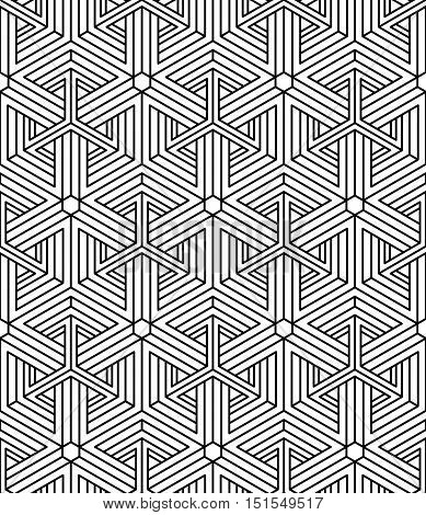 Black and white illusive abstract geometric seamless 3d pattern.