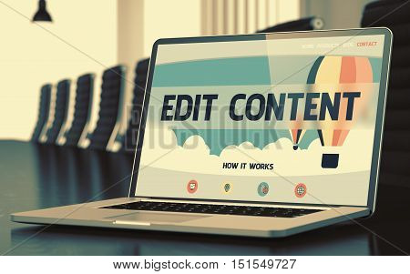 Mobile Computer Display with Edit Content Concept on Landing Page. Closeup View. Modern Conference Hall Background. Toned Image with Selective Focus. 3D Render.