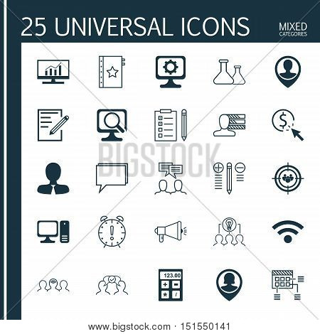 Set Of 25 Universal Icons On Laptop, Pin Employee, Decision Making And More Topics. Vector Icon Set
