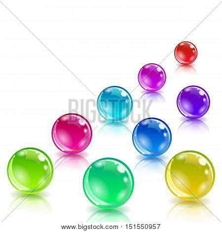 Glossy colored balls with reflection. Business Infographics ball concept. 3d isometric vector illustration.  White background.