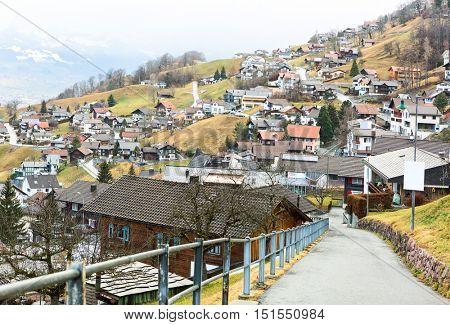 View Triesenberg on an overcast day in late autumn, Liechtenstein.   Triesenberg is a municipality in Liechtenstein