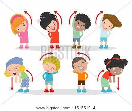 Illustration of Kids Exercising, Kids exercising ,child exercising , happy Kids Exercising, Vector Illustration.