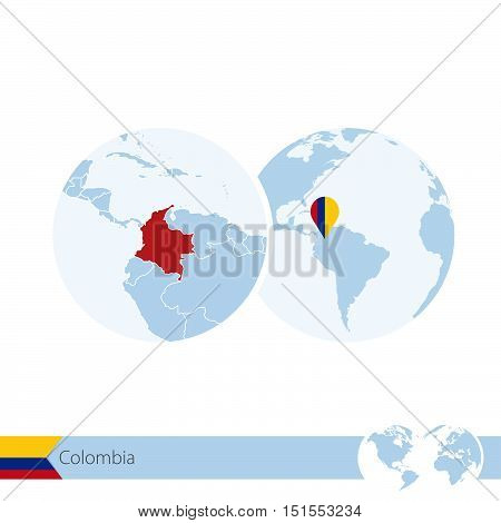 Colombia On World Globe With Flag And Regional Map Of Colombia.