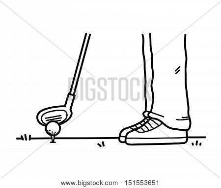 Playing Golf Doodle. A hand drawn vector doodle illustration of someone playing golf.