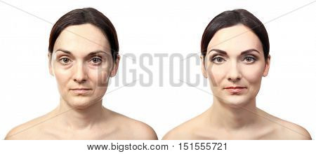 Portrait of woman before and after the makeup, isolated on white