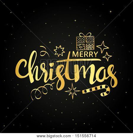 Merry Christmas golden handwritten lettering. Modern vector calligraphy with gift box confetti stars and xmas candy cane over starry night background for your greeting card design