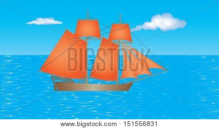 Sailing Ship. Schooner with beautiful red sails on the sea. Old wooden sailing ship under full sail on the sea