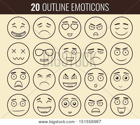 Set of outline emoticons, emoji isolated on white background. Emoticon for web site, chat, sms. Vector illustration