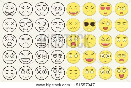 Set of outline and colorful emoticons, emoji isolated on white background. Emoticon for web site, chat, sms. Vector illustration