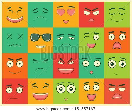 Set of square emoticons. Emoticon for web site, chat, sms. Vector illustration