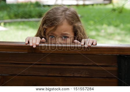 Kid Hiding Behind A BenchIn. Little Girl Six Year Old Hiding Behind A Wooden Bench In Park Summer.