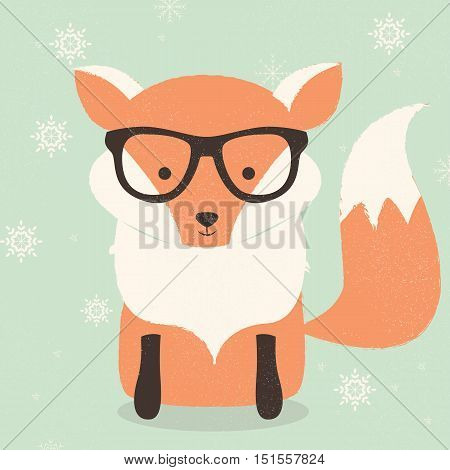 Merry Christmas postcard with cute hipster orange fox wearing glasses vector illustration