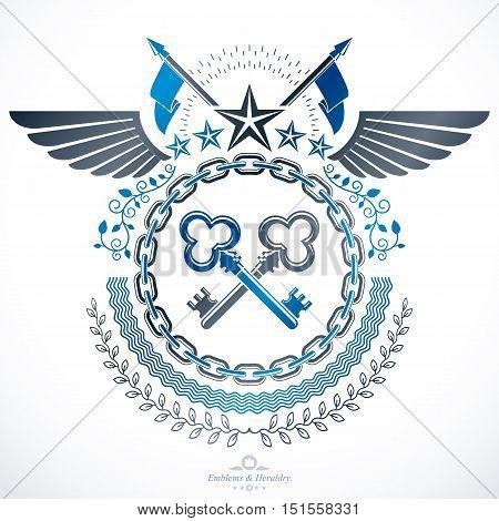 Vintage award design vintage heraldic Coat of Arms. Vector emblem.