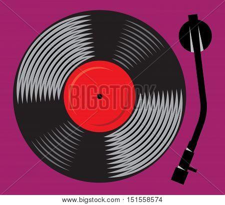 symbolic gramophone with vinyl record retro DJ mixer vector illustration
