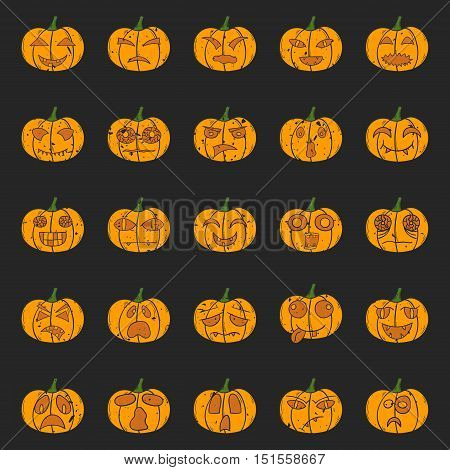 Vector Cartoon Hand Drawn Halloween Pumpkin
