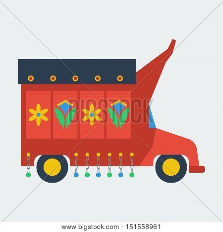 Pakistani truck with artwork. Truck art is a popular form of art in Pakistan.