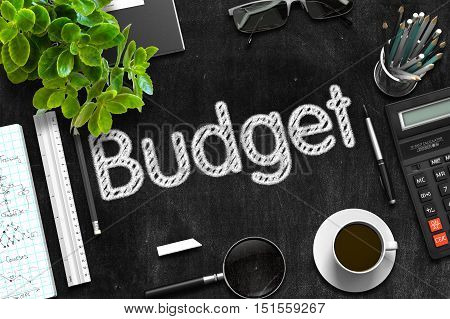 Budget. Business Concept Handwritten on Black Chalkboard. Top View Composition with Chalkboard and Office Supplies. 3d Rendering.