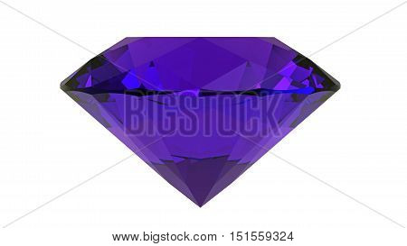 Amethyst gemstone isolated on white 3D rendering