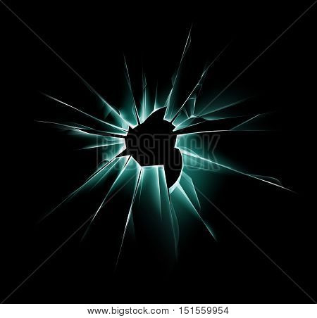 Vector Green Shattered Crack Glass Window with Sharp Edges and Bullet holes Close up on Dark Black Background