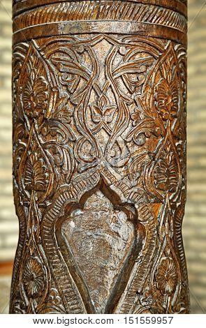Detail of traditonal carved wooden column, Uzbekistan