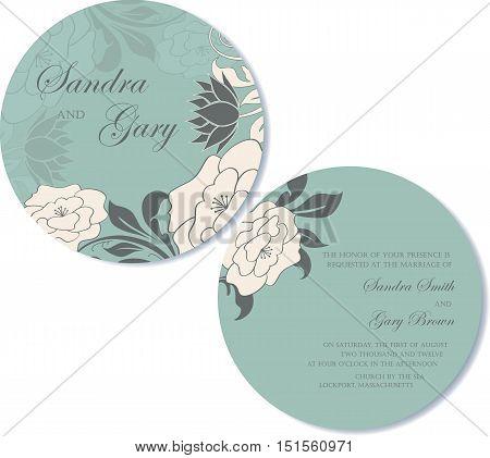 Round, double sided wedding invitation. Vector illustration