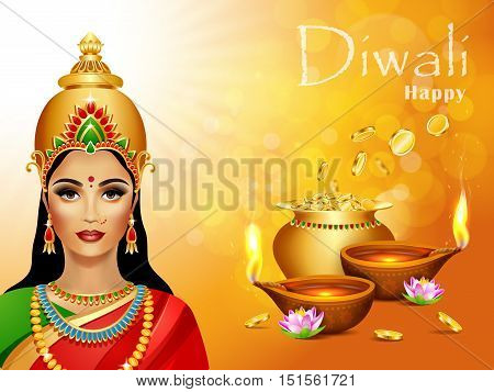 Diwali Holiday greeting card. Deepawali background with two burning diya, pot of gold and Lakshmi hindu goddess. Diwali festival.