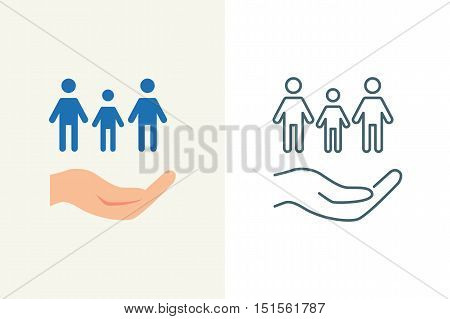 Family insurance vector icon, flat and line style