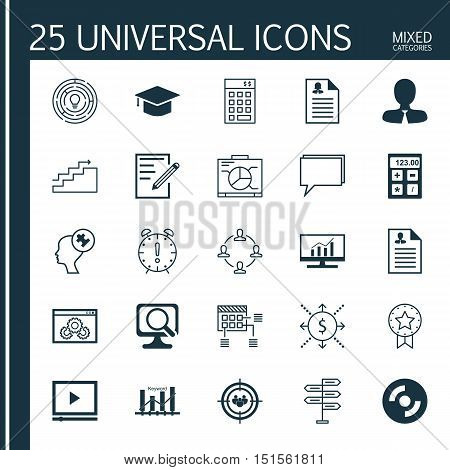 Set Of 25 Universal Icons On Keyword Optimisation, Time Management, Blank Cd And More Topics. Vector