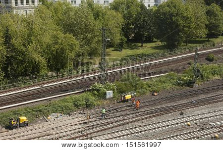 Rail Tracks In Depot.