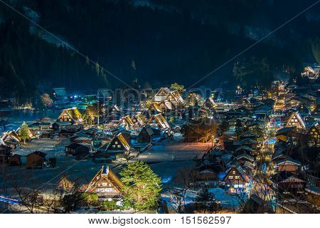 The Historic Villages of Shirakawago are one of Japan's UNESCO World Heritage Sites.Shirakawago light-up with Snowfall Gifu Chubu Japan