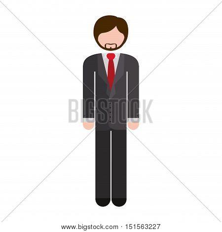 full body man formal suit gray vector illustration