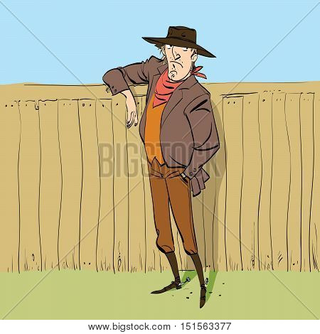 Cowboy in full figure standing near a fence, hand drawn line art illustration