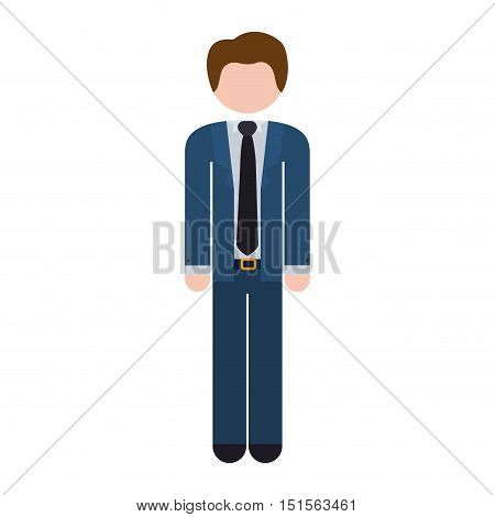 full body man formal suit blue vector illustration